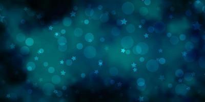 hellblauer Vektorhintergrund mit Kreisen, Sternen