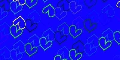 hellblauer, grüner Vektorhintergrund mit leuchtenden Herzen.