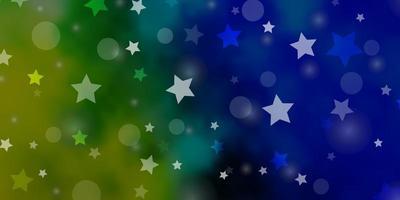 hellblaues, grünes Vektormuster mit Kreisen, Sternen