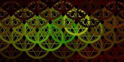 dunkelgrüne, gelbe Vektorschablone mit esoterischen Zeichen.