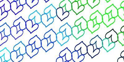ljusblå, grön vektorbakgrund med glänsande hjärtan.