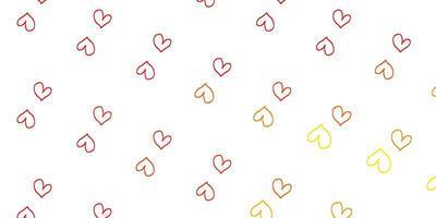 hellrote, gelbe Vektorbeschaffenheit mit schönen Herzen.