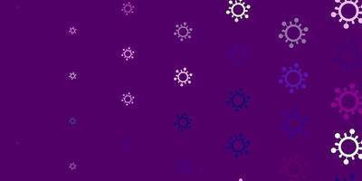 hellrosa Vektorhintergrund mit Virensymbolen.