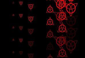 dunkelrote Vektorschablone mit esoterischen Zeichen.