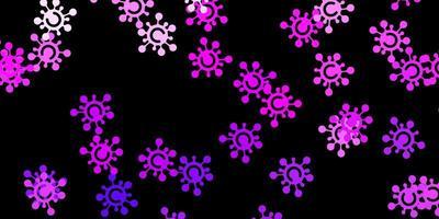 mörklila vektor mönster med coronavirus element.