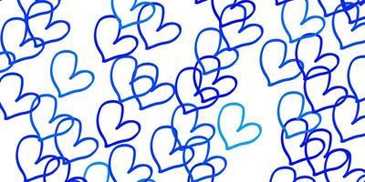 ljusblå vektor bakgrund med söta hjärtan.