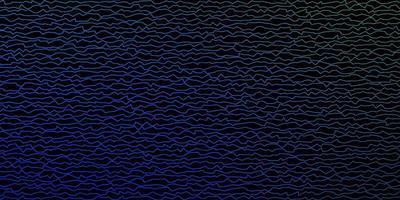 dunkelblauer, grüner Vektorhintergrund mit gebogenen Linien.