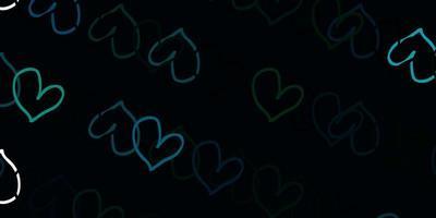 ljusblå, grön vektorbakgrund med hjärtan.