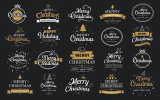 Frohe Weihnachten und ein frohes neues Jahr Typografie-Label mit Symbol-Design-Set vektor