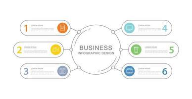 6 Daten Business Infografiken Vorlage mit dünnen Linien Design