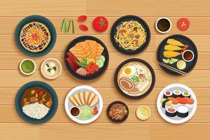 japansk mat ovanifrån trä bakgrund. vektor