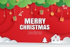 god jul och gott nytt år rött gratulationskort i mall för papperskonst. användning för affisch, omslag, flygblad. vektor