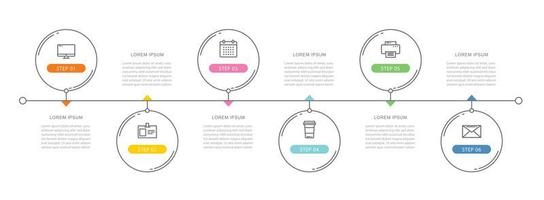 6 cirkeldata tidslinje infographics mall med tunn linje design