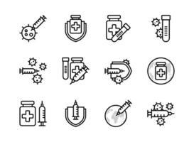 covid-19 vaccin ikonuppsättning dispositionsformat. tecken och symbol för webbsajt, tryck, klistermärke, banner, affisch.