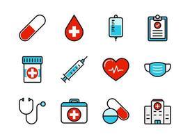 medicinsk och sjukvård ikonuppsättning vektor
