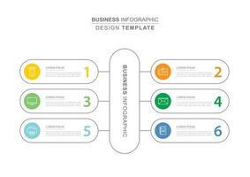 6 dataföretag infographics mall med tunn linje design