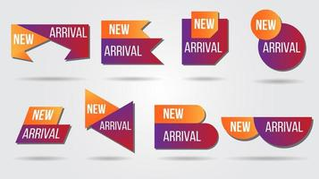 ny ankomst vektor illustration etikett samling
