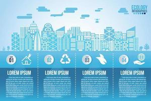 Infografik Öko Wasser Blau Design-Elemente verarbeiten 4 Schritte vektor