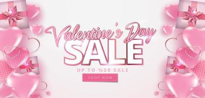 Alla hjärtans dag försäljning 50 rabatt affisch eller banner vektor