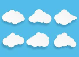 Papierkunstwolken-Sprechblase und Elementsatz