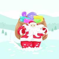 jultomten med sin väska full av gåvor vektor