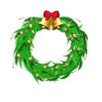 Weihnachtskranzdekoration mit grünen Kiefernblättern und Glocken vektor