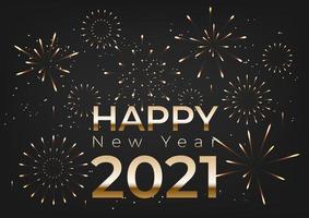 Frohes neues Jahr 2021 mit Feuerwerk und Feierhintergrund vektor