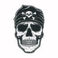 Piratenschädel mit Kopftuch auf dem Kopf vektor