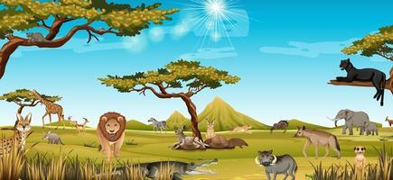 afrikanska djur i skogen landskap scen vektor