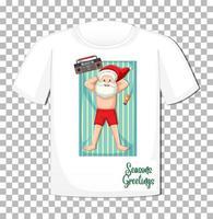 Weihnachtsmann-Karikaturfigur im Weihnachtssommerthema auf T-Shirt vektor