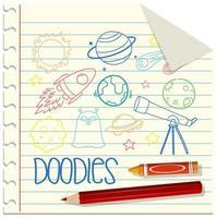 uppsättning rymd element doodle på papper vektor