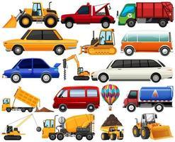 Satz verschiedene Arten von Autos und Lastwagen lokalisiert auf weißem Hintergrund