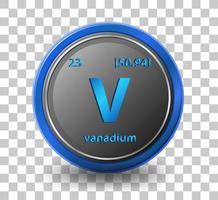 vanadin kemiskt element. kemisk symbol med atomnummer och atommassa. vektor
