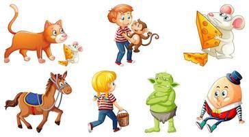 Satz von verschiedenen Kinderreimcharakter lokalisiert auf weißem Hintergrund