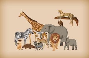 Gruppe von wilden Tieren auf Hintergrund