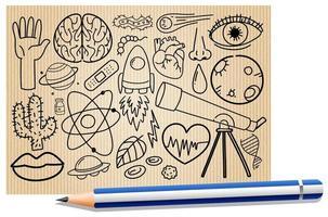 olika klotterstreck om vetenskaplig utrustning på ett papper med en penna vektor