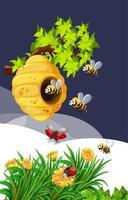 bi och nyckelpiga i naturen vektor