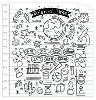 vetenskapselement i klotter- eller skissstil isolerad på anteckningsboken vektor