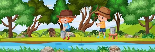 Kinder, die in der horizontalen Landschaftsszene des Naturwaldes zur Tageszeit fischen vektor