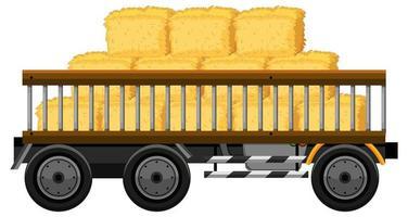 hö på en vagn isolerad på vit bakgrund vektor