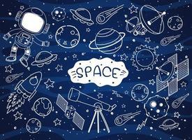 uppsättning rymd element doodle isolerad på galax bakgrund vektor