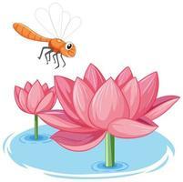 Libelle mit rosa Lotuskarikaturstil auf weißem Hintergrund vektor