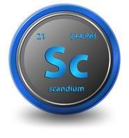 chemisches Scandium-Element. chemisches Symbol mit Ordnungszahl und Atommasse. vektor