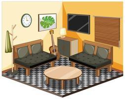 Wohnzimmer mit Möbeln isometrisch vektor