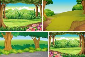 uppsättning av olika utomhus natur scen vektor