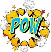 Wort pow auf Comic Cloud Explosion Hintergrund