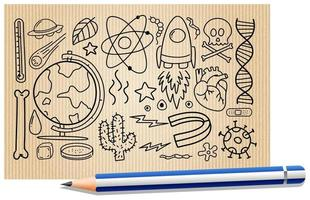 verschiedene Gekritzelstriche über wissenschaftliche Ausrüstung auf einem Papier vektor