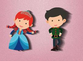 liten prinsessa och vakt seriefigur på rosa bakgrund