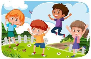 glada barn som leker utomhus bakgrund vektor
