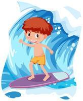 glad pojke som surfar stor våg vektor